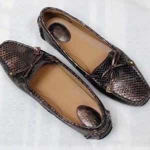 Clark's Artisan Bronze Leather Snake Skin Loafers